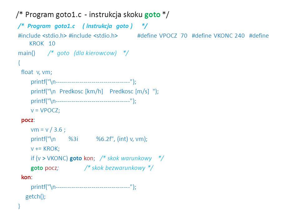 /* Program goto1.c - instrukcja skoku goto */ /* Program goto1.c ( instrukcja goto ) */ #include #include #define VPOCZ 70 #define VKONC 240 #define K