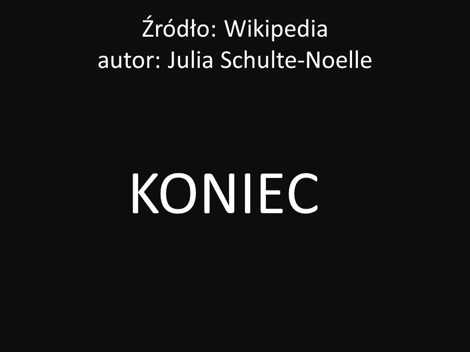Źródło: Wikipedia autor: Julia Schulte-Noelle KONIEC