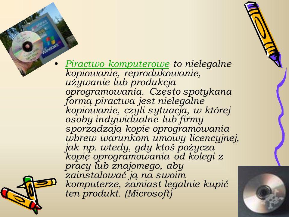 Licencja – dokument producenta zezwalający na użytkowanie programu komputerowego Licencja OEM (Original Equipment Manufacturer) jest ważna TYLKO I WYŁACZNIE na komputer, wraz z którym system został zakupiony TYPY LICENCJI: Licencja Adware – programy tego typu są rozprowadzane darmowo, jednakże posiadają różnego rodzaju reklamy, bandery reklamowe itp.