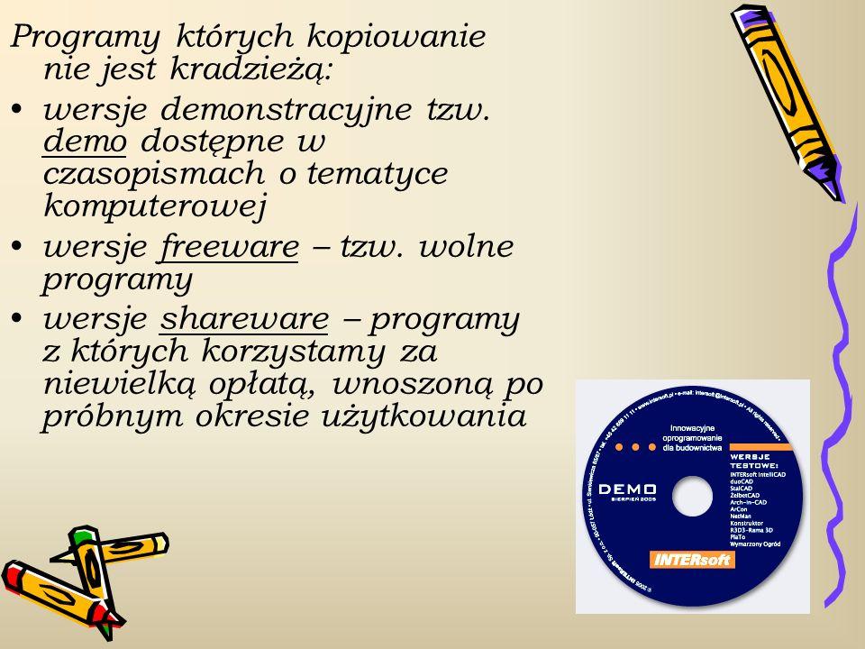 Programy których kopiowanie nie jest kradzieżą: wersje demonstracyjne tzw. demo dostępne w czasopismach o tematyce komputerowej wersje freeware – tzw.