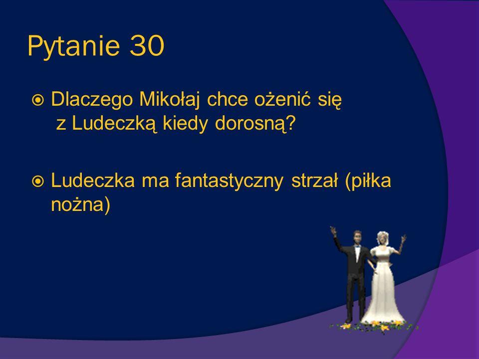 Pytanie 29 Kim jest Ludeczka? Jest córką jednej z przyjaciółek mamy Mikołajka