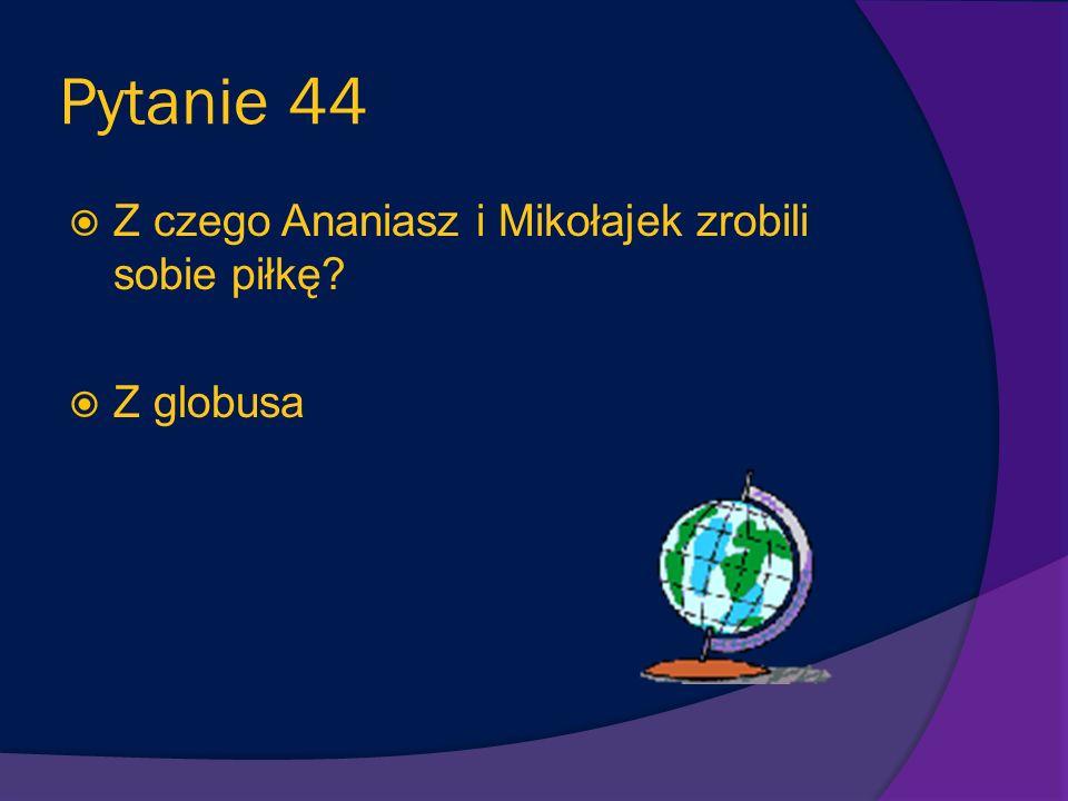 Pytanie 43 Z czego Mikołajek i Ananiasz robili okręty? Z kartek wyrwanych z książek Ananiasza