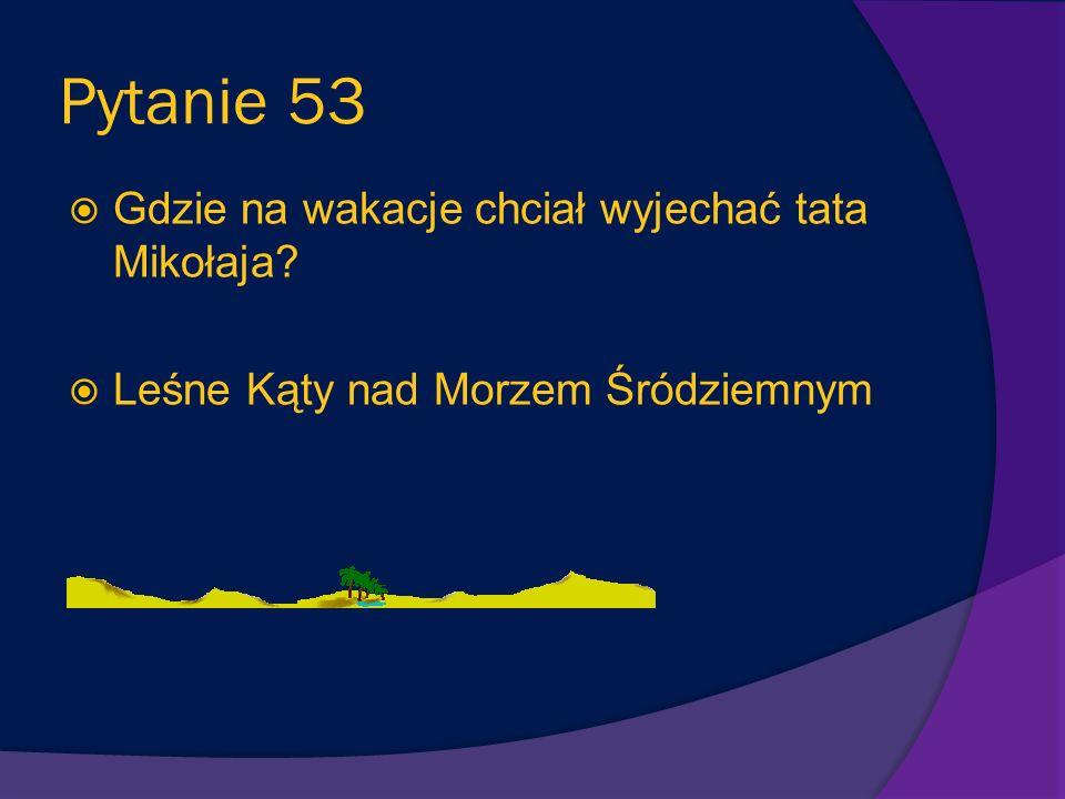 Pytanie 52 Czy Mikołaj wrócił do domu? Tak