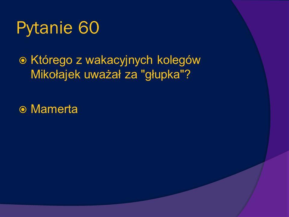 Pytanie 59 Co nie podobało się tacie Mikołajka w pensjonacie