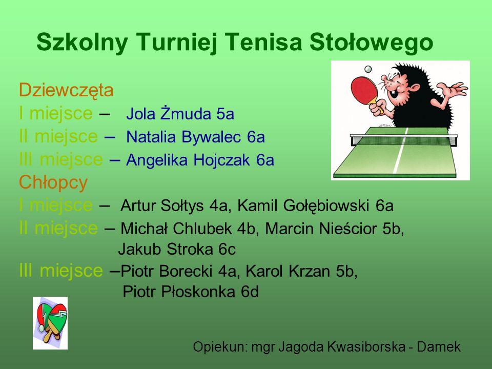 Szkolny Turniej Tenisa Stołowego Dziewczęta I miejsce – Jola Żmuda 5a II miejsce – Natalia Bywalec 6a III miejsce – Angelika Hojczak 6a Chłopcy I miej