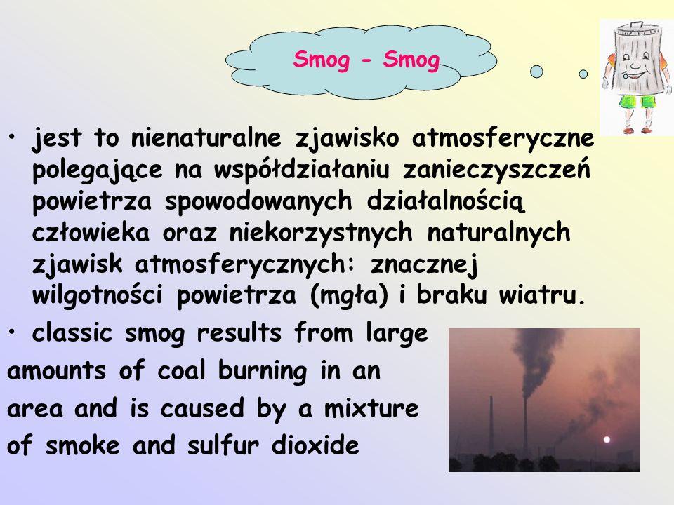 jest to nienaturalne zjawisko atmosferyczne polegające na współdziałaniu zanieczyszczeń powietrza spowodowanych działalnością człowieka oraz niekorzys