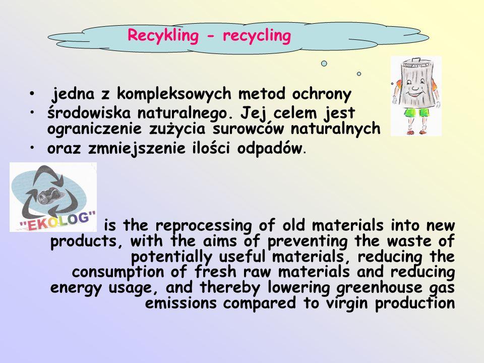 jedna z kompleksowych metod ochrony środowiska naturalnego. Jej celem jest ograniczenie zużycia surowców naturalnych oraz zmniejszenie ilości odpadów.