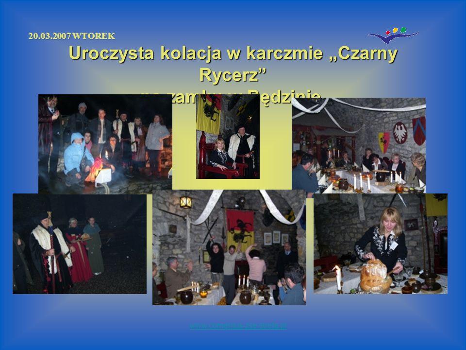 Uroczysta kolacja w karczmie Czarny Rycerz na zamku w Będzinie. www.comenius-zse.strefa.pl