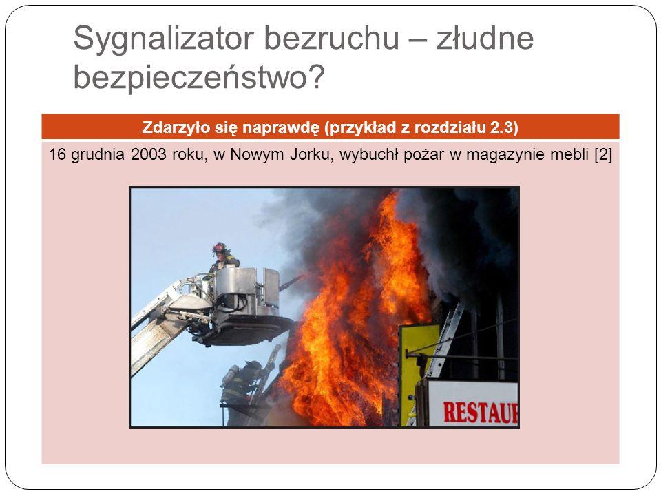 Zdarzyło się naprawdę (przykład z rozdziału 2.3) 16 grudnia 2003 roku, w Nowym Jorku, wybuchł pożar w magazynie mebli [2]
