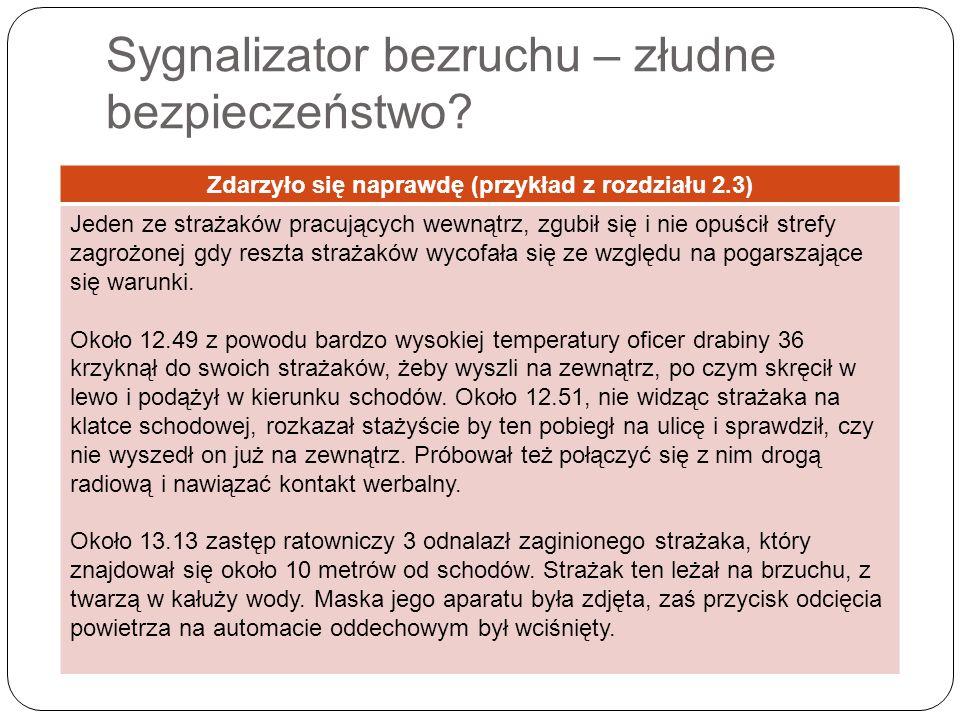 Sygnalizator bezruchu – złudne bezpieczeństwo? Zdarzyło się naprawdę (przykład z rozdziału 2.3) Jeden ze strażaków pracujących wewnątrz, zgubił się i