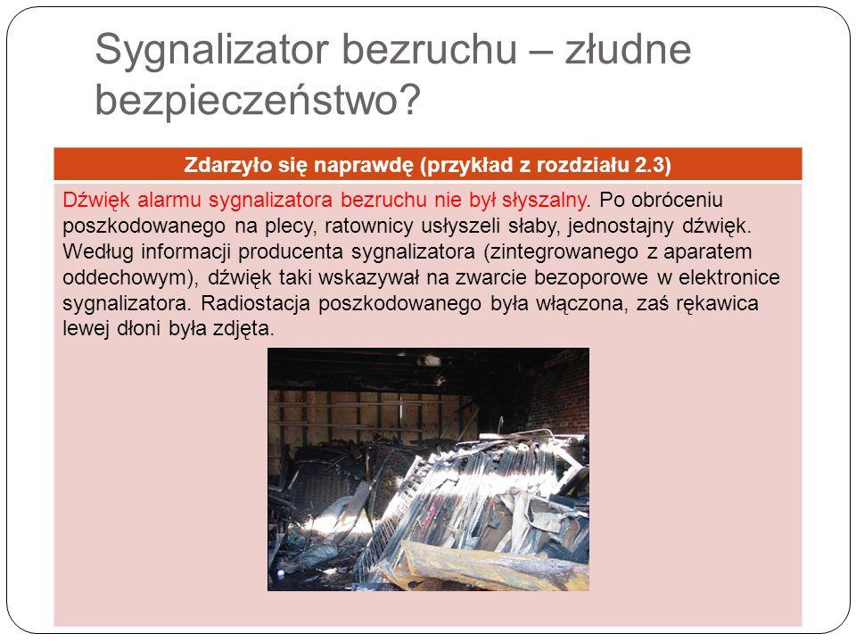 Sygnalizator bezruchu – złudne bezpieczeństwo? Zdarzyło się naprawdę (przykład z rozdziału 2.3) Dźwięk alarmu sygnalizatora bezruchu nie był słyszalny