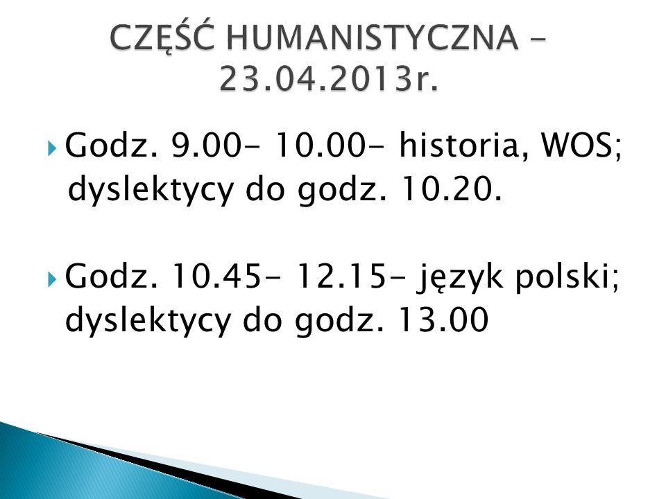 Godz. 9.00- 10.00- historia, WOS; dyslektycy do godz.