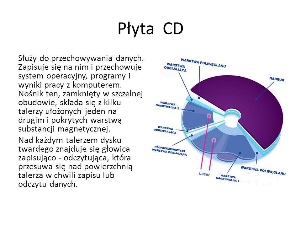 Płyta CD Służy do przechowywania danych. Zapisuje się na nim i przechowuje system operacyjny, programy i wyniki pracy z komputerem. Nośnik ten, zamkni