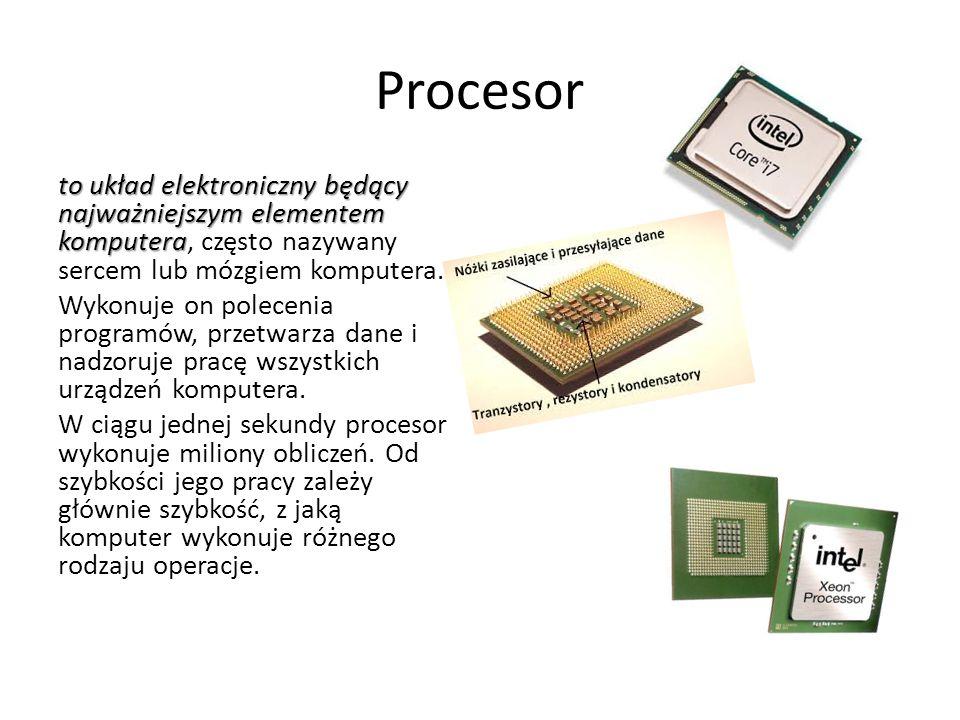 Procesor to układ elektroniczny będący najważniejszym elementem komputera, często nazywany sercem lub mózgiem komputera. Wykonuje on polecenia program