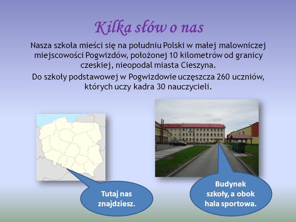 Kilka słów o nas Nasza szkoła mieści się na południu Polski w małej malowniczej miejscowości Pogwizdów, położonej 10 kilometrów od granicy czeskiej, nieopodal miasta Cieszyna.