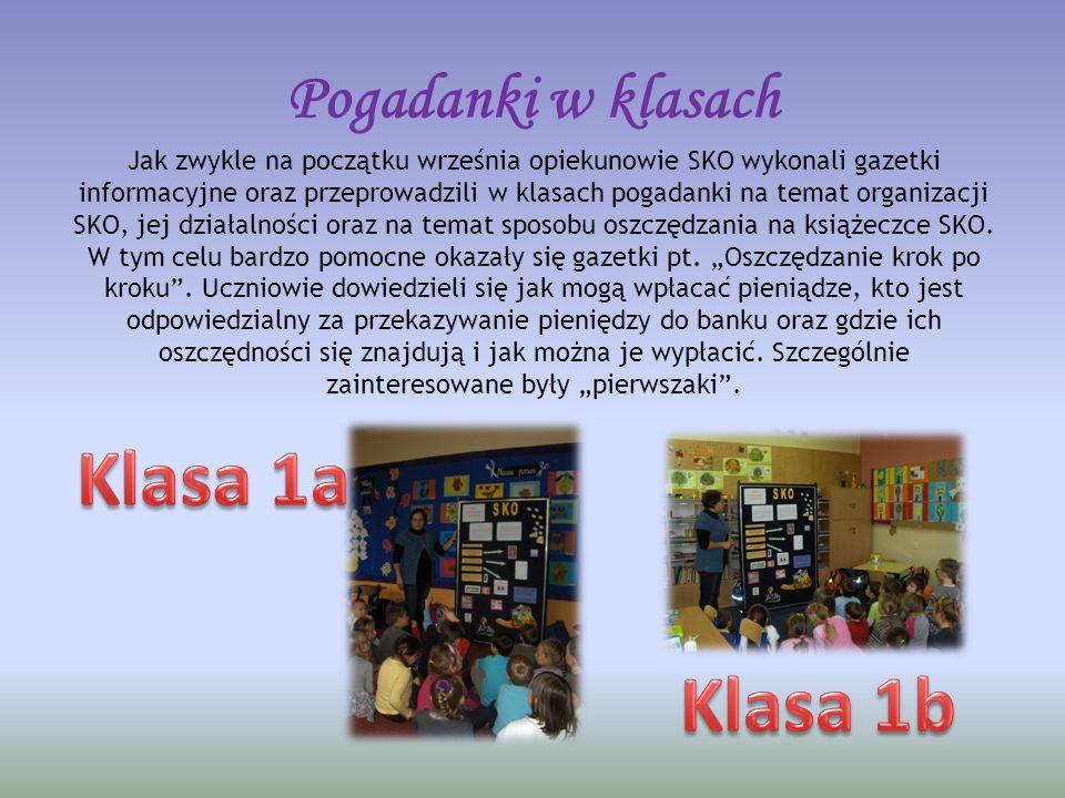 Pogadanki w klasach Jak zwykle na początku września opiekunowie SKO wykonali gazetki informacyjne oraz przeprowadzili w klasach pogadanki na temat organizacji SKO, jej działalności oraz na temat sposobu oszczędzania na książeczce SKO.
