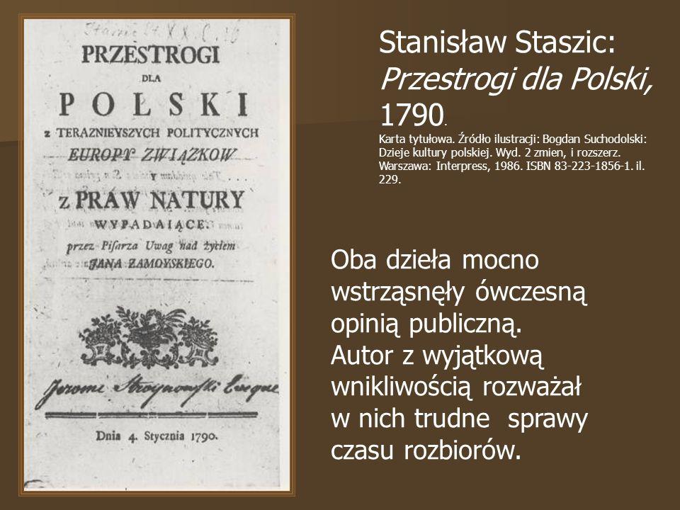Stanisław Staszic: Przestrogi dla Polski, 1790.Karta tytułowa.