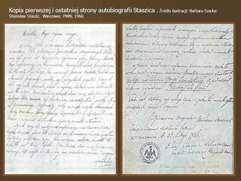Kopia pierwszej i ostatniej strony autobiografii Staszica.
