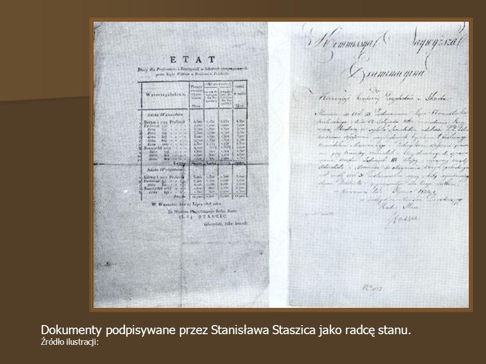 Dokumenty podpisywane przez Stanisława Staszica jako radcę stanu. Źródło ilustracji: