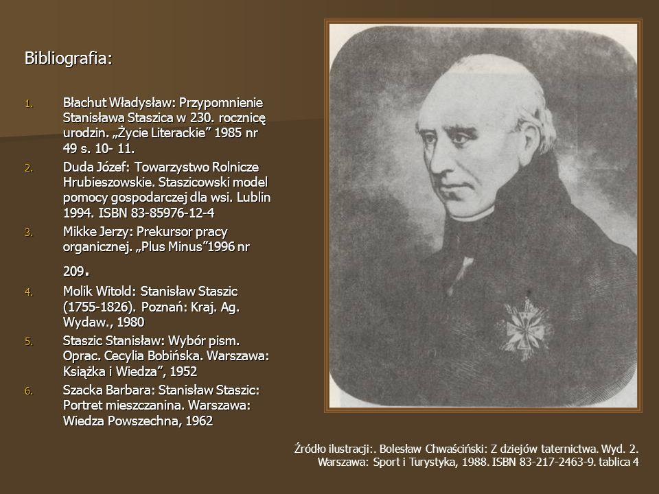 Bibliografia: 1.Błachut Władysław: Przypomnienie Stanisława Staszica w 230.