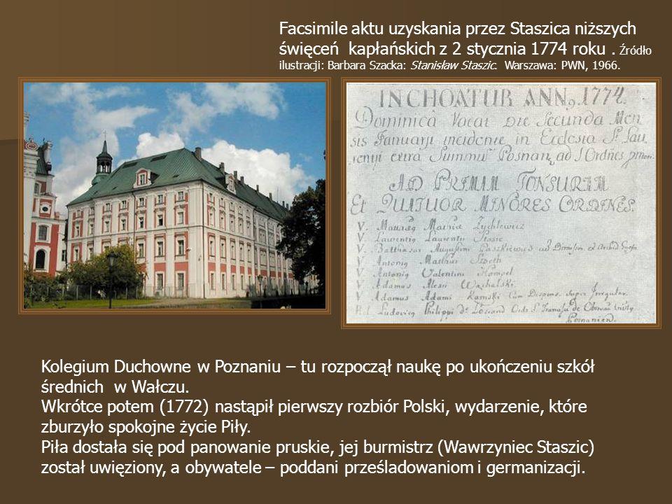 Facsimile aktu uzyskania przez Staszica niższych święceń kapłańskich z 2 stycznia 1774 roku.
