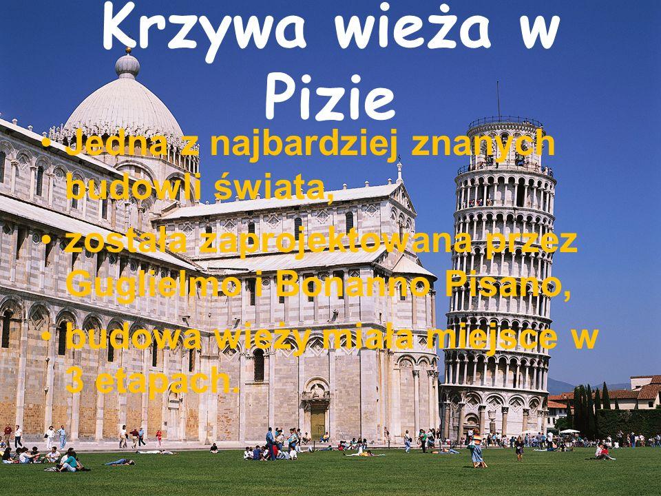 Krzywa wieża w Pizie Jedna z najbardziej znanych budowli świata, została zaprojektowana przez Guglielmo i Bonanno Pisano, budowa wieży miała miejsce w 3 etapach.