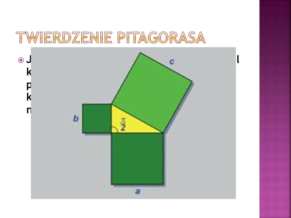Jeżeli trójkąt jest prostokątny, to suma pól kwadratów zbudowanych na przyprostokątnych jest równa polu kwadratu zbudowanego na przeciwprostokątnej. a