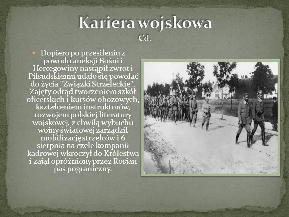 Dopiero po przesileniu z powodu aneksji Bośni i Hercegowiny nastąpił zwrot i Piłsudskiemu udało się powołać do życia Związki Strzeleckie .