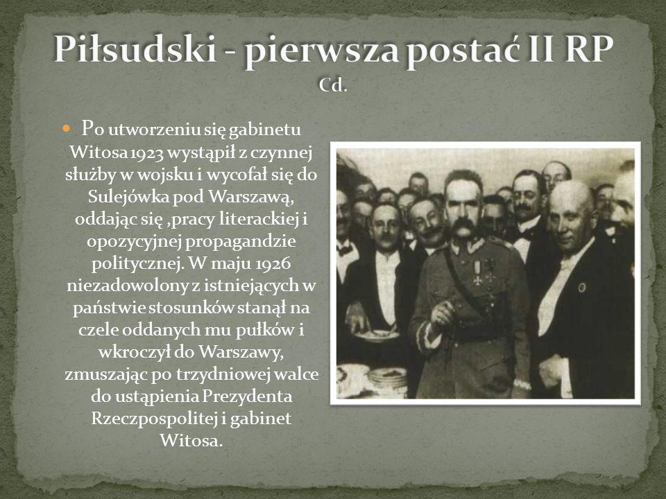 P o utworzeniu się gabinetu Witosa 1923 wystąpił z czynnej służby w wojsku i wycofał się do Sulejówka pod Warszawą, oddając się,pracy literackiej i opozycyjnej propagandzie politycznej.