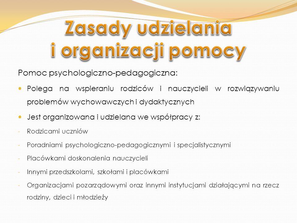Wnioskować o pomoc mogą: Uczeń Rodzice ucznia Specjalista prowadzący zajęcia z uczniem Nauczyciel Poradnia psychologiczno-pedagogiczna, w tym poradnia specjalistyczna Asystent edukacji romskiej Pomoc psychologiczno-pedagogiczną organizuje dyrektor szkoły.