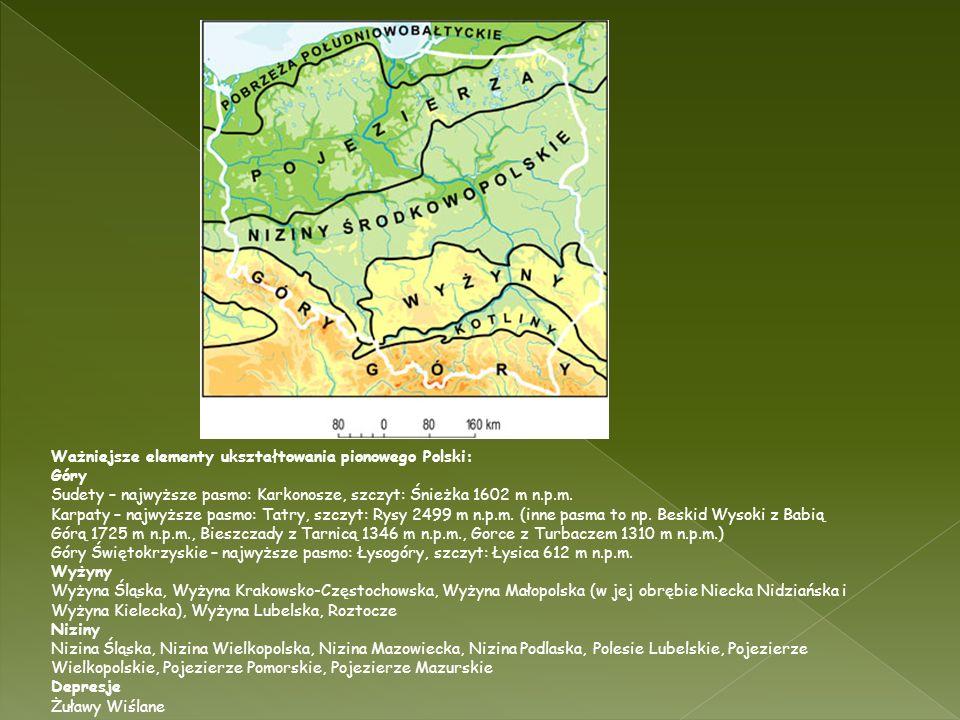 Ważniejsze elementy ukształtowania pionowego Polski: Góry Sudety – najwyższe pasmo: Karkonosze, szczyt: Śnieżka 1602 m n.p.m. Karpaty – najwyższe pasm