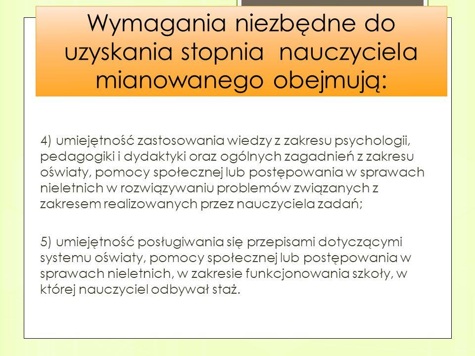 Wymagania niezbędne do uzyskania stopnia nauczyciela mianowanego obejmują: 4) umiejętność zastosowania wiedzy z zakresu psychologii, pedagogiki i dyda