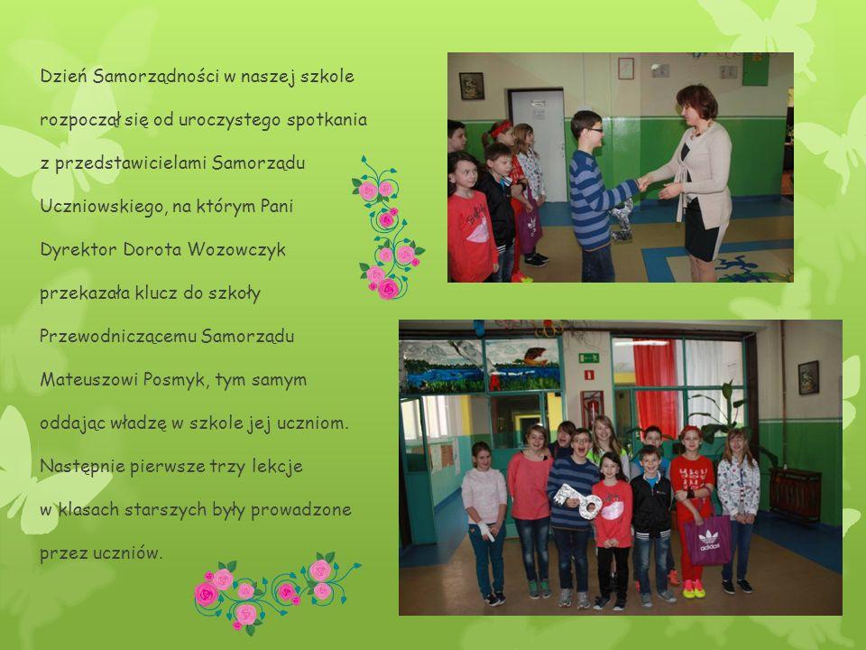 Dzień Samorządności w naszej szkole rozpoczął się od uroczystego spotkania z przedstawicielami Samorządu Uczniowskiego, na którym Pani Dyrektor Dorota