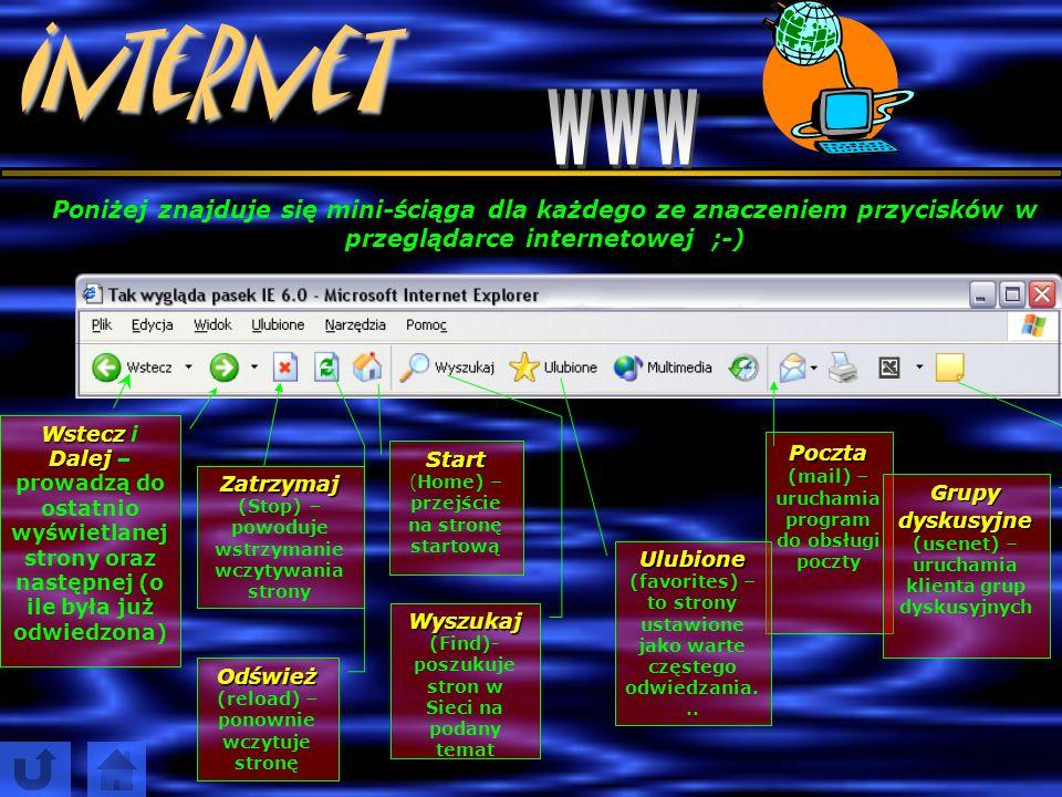 Internet A b y r o z p o c z ą ć ż e g l u g ę p o I n t e r n e c i e, n a l e ż y u r u c h o m i ć p r z e g l ą d a r k ę, w p i s a ć a d r e s i
