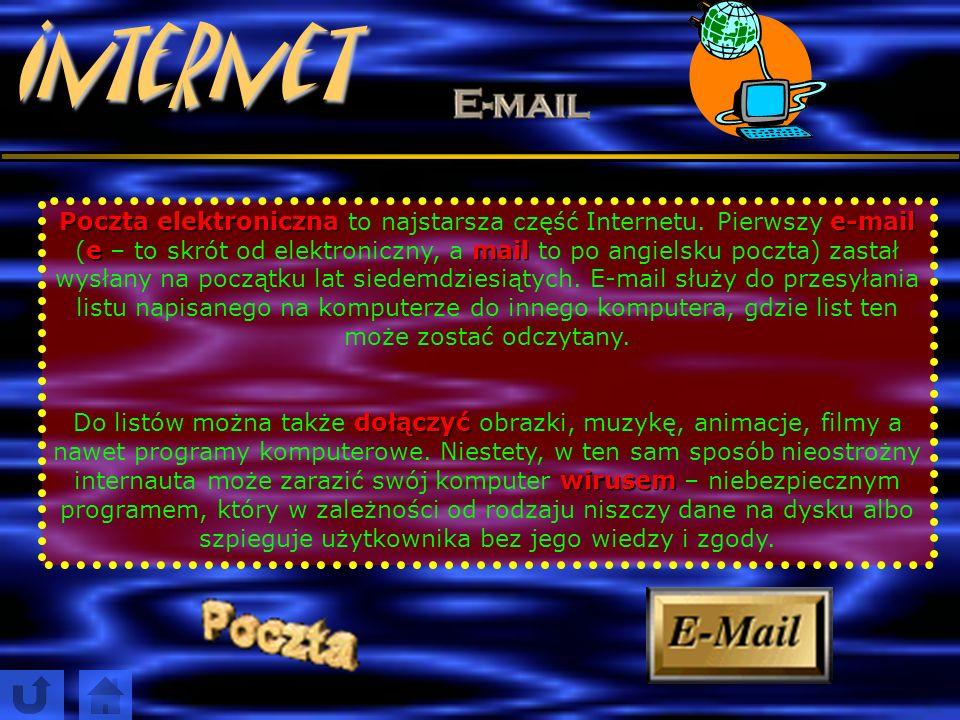 Internet poczta elektroniczna To tyle powierzchownych informacji na temat stron www. Innym zastosowaniem Internetu jest poczta elektroniczna