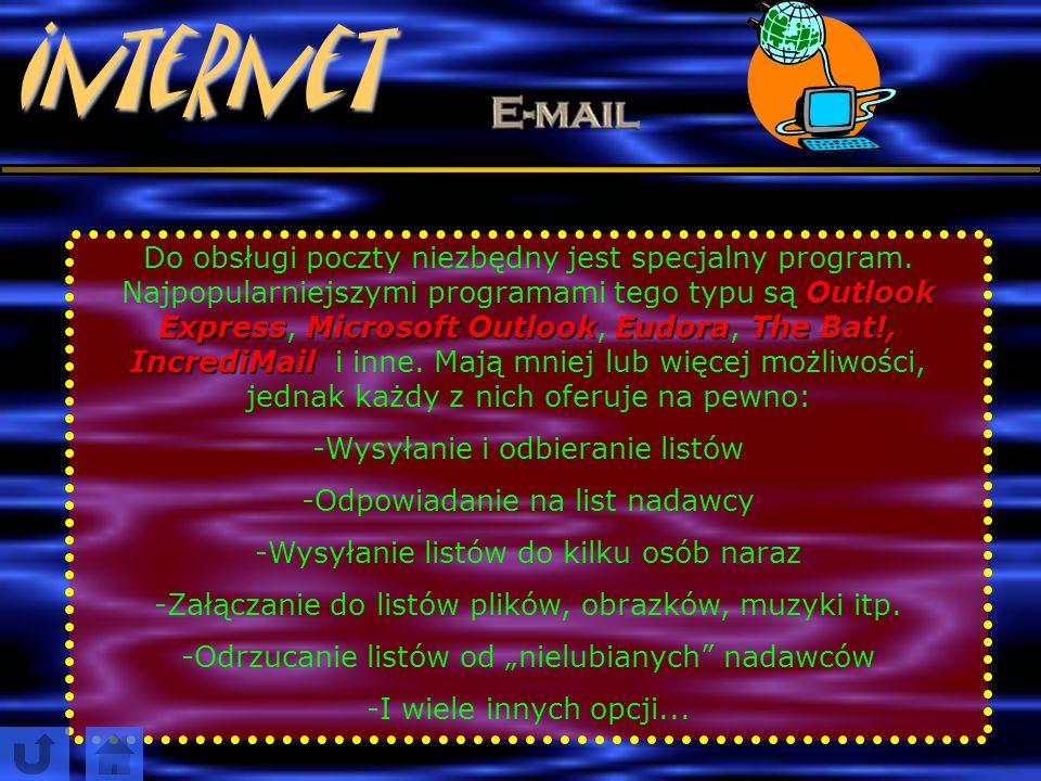InternetPoczta elektroniczna to najstarsza część Internetu. Pierwszy e ee e-mail (e – to skrót od elektroniczny, a m mm mail to po angielsku poczta) z