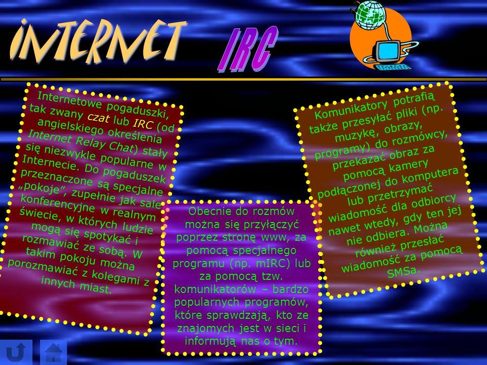 Internet Grupy dyskusyjne (Usenet) to część gigantycznego systemu serwerów newsowych, czyli takich tablic z ogłoszeniami. Ludzie z całego świata mogą