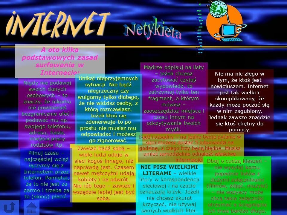Internet N e t y k i e t a t o i n a c z e j e t y k i e t a s i e c i ( n e t u ), c z y l i z b i ó r z a s a d d o b r e g o w y c h o w a n i a w I n t e r n e c i e.