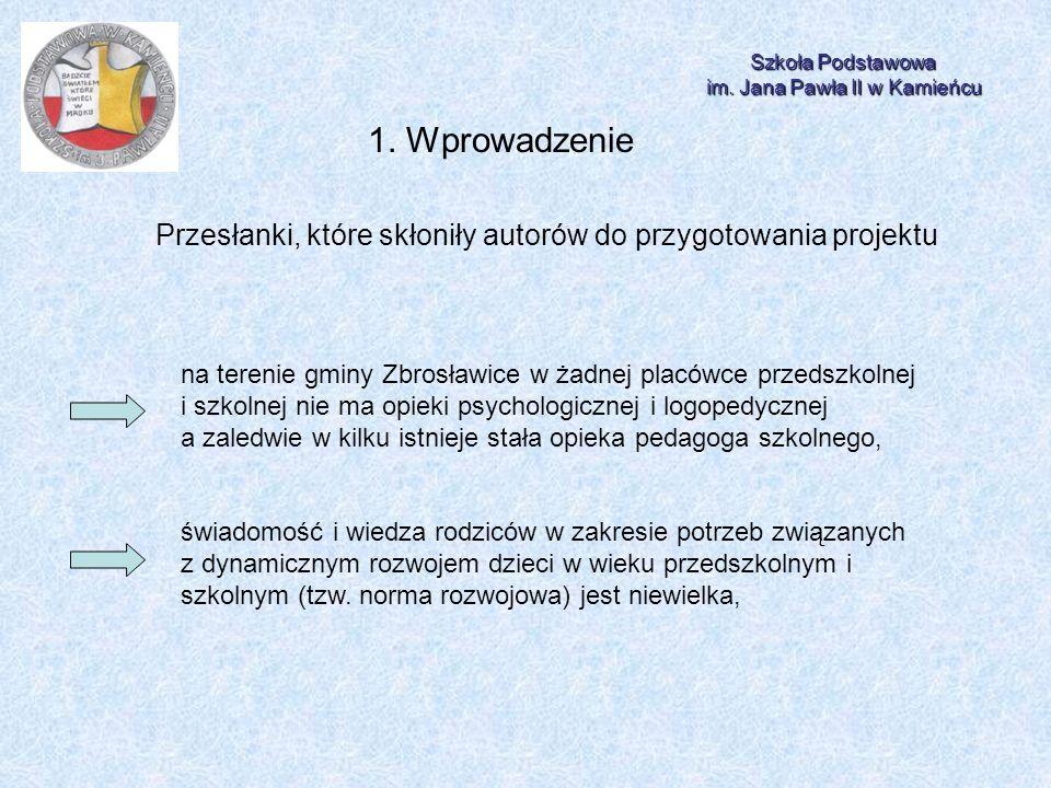 Szkoła Podstawowa im. Jana Pawła II w Kamieńcu 1. Wprowadzenie Przesłanki, które skłoniły autorów do przygotowania projektu na terenie gminy Zbrosławi