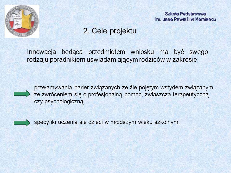 Szkoła Podstawowa im. Jana Pawła II w Kamieńcu 2. Cele projektu Innowacja będąca przedmiotem wniosku ma być swego rodzaju poradnikiem uświadamiającym