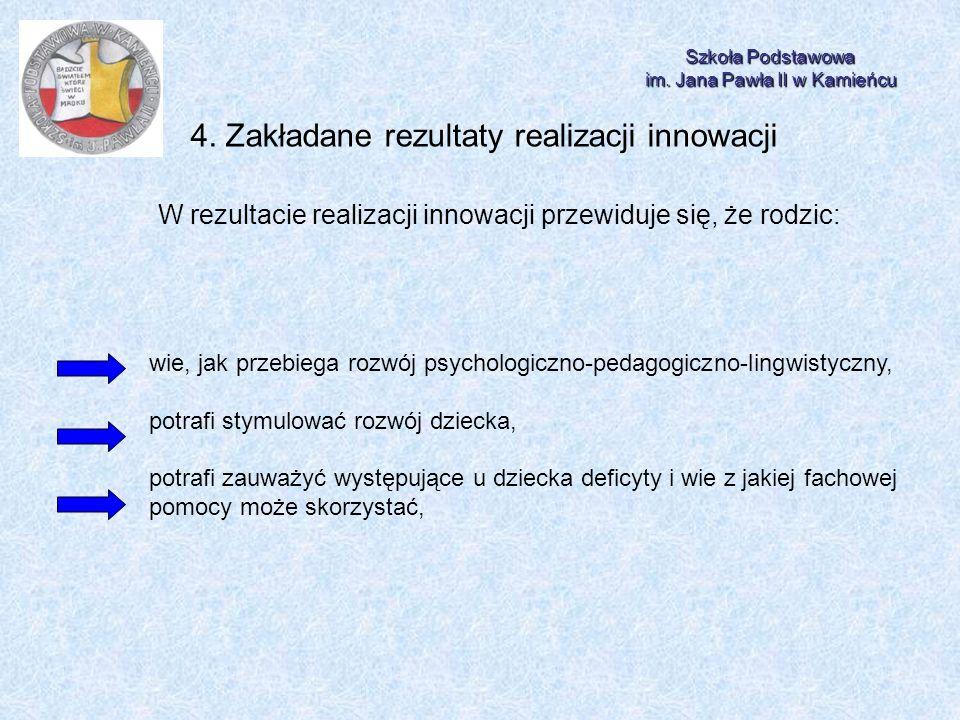 Szkoła Podstawowa im. Jana Pawła II w Kamieńcu 4. Zakładane rezultaty realizacji innowacji W rezultacie realizacji innowacji przewiduje się, że rodzic