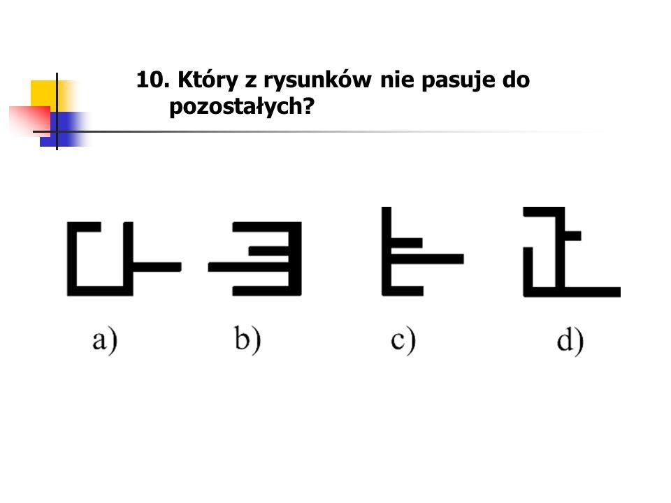 10. Który z rysunków nie pasuje do pozostałych?