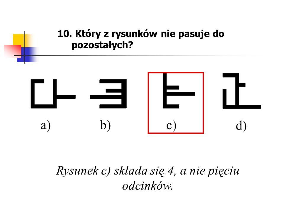 Rysunek c) składa się 4, a nie pięciu odcinków.