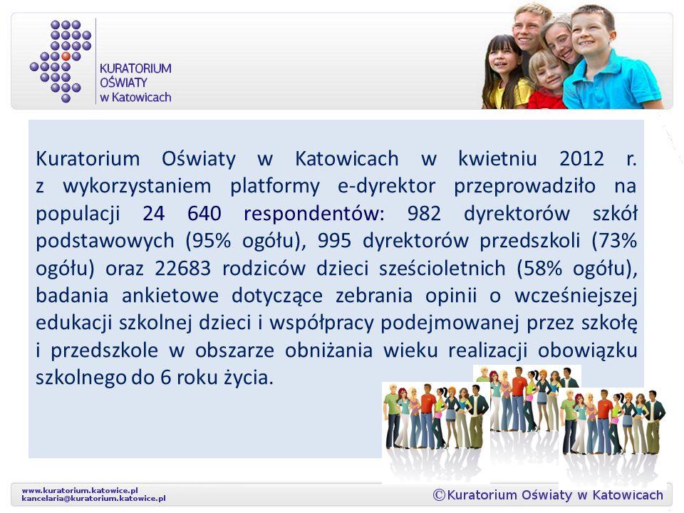 Wyniki badań ankietowych prowadzonych przez Kuratorium Oświaty w Katowicach w kwietniu 2012 r. w zakresie badania opinii dyrektorów przedszkoli, szkół