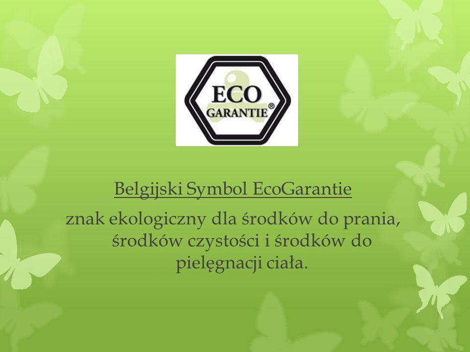 Belgijski Symbol EcoGarantie znak ekologiczny dla środków do prania, środków czystości i środków do pielęgnacji ciała.