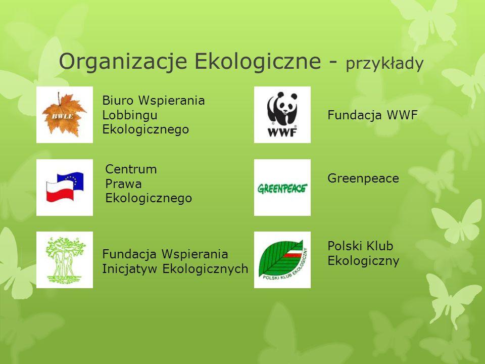 Organizacje Ekologiczne - przykłady Biuro Wspierania Lobbingu Ekologicznego Centrum Prawa Ekologicznego Fundacja Wspierania Inicjatyw Ekologicznych Gr
