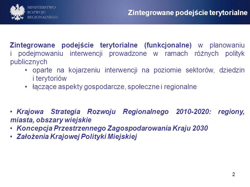 2 Zintegrowane podejście terytorialne Zintegrowane podejście terytorialne (funkcjonalne) w planowaniu i podejmowaniu interwencji prowadzone w ramach r