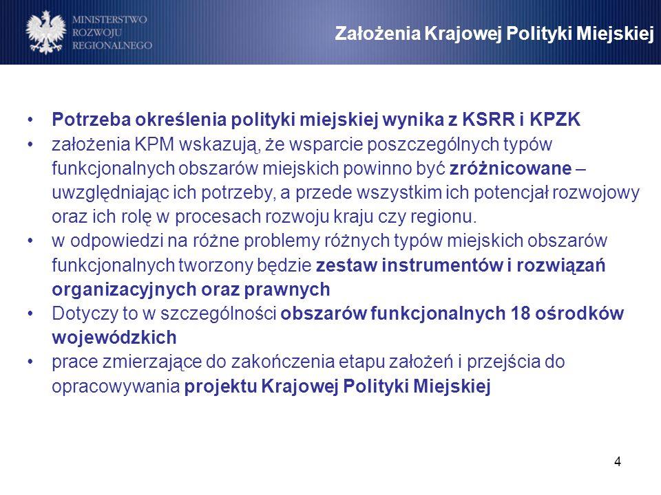 4 Założenia Krajowej Polityki Miejskiej Potrzeba określenia polityki miejskiej wynika z KSRR i KPZK założenia KPM wskazują, że wsparcie poszczególnych