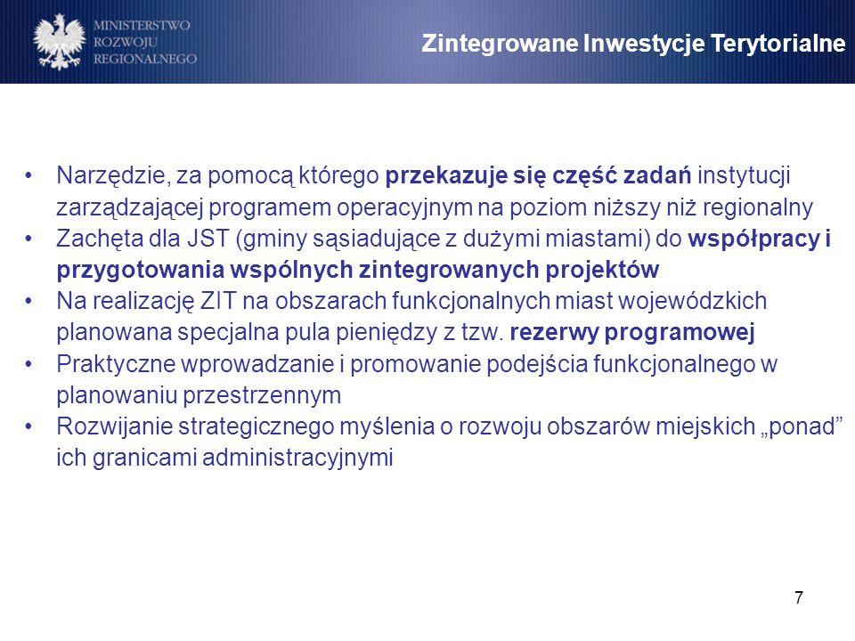7 Zintegrowane Inwestycje Terytorialne Narzędzie, za pomocą którego przekazuje się część zadań instytucji zarządzającej programem operacyjnym na pozio
