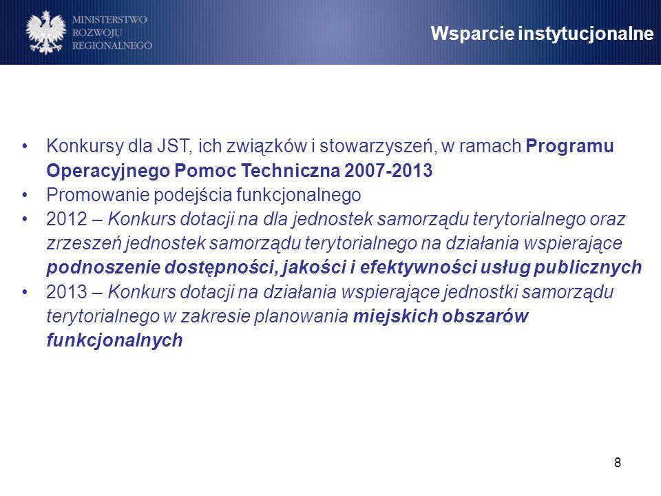 8 Wsparcie instytucjonalne Konkursy dla JST, ich związków i stowarzyszeń, w ramach Programu Operacyjnego Pomoc Techniczna 2007-2013 Promowanie podejśc
